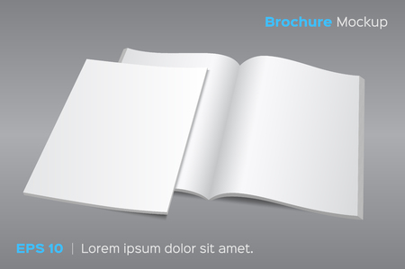Illustration for Blank opened magazine or brochure mockup. illustration on gray background. Photo realistic with shadows. - Royalty Free Image