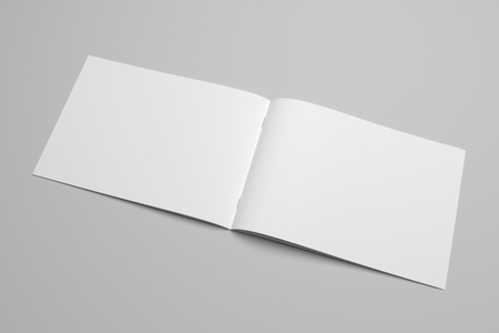 Photo pour Blank 3D rendering brochure magazine on gray with clipping path No. 12 - image libre de droit