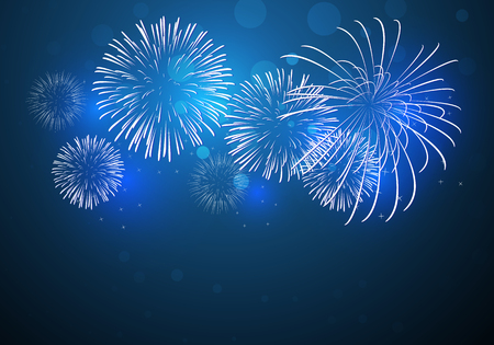 Illustration pour colorful fireworks vector, sparkling in dark blue sky, fireworks for festive events, new year, Christmas - image libre de droit