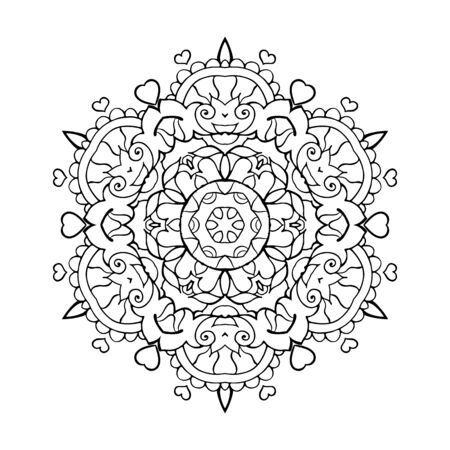 Illustration pour Mandala Art for Meditation, Color Therapy, Adult Coloring Pages, Stress Relief and relaxation (Valentine Version) with Heart shape for Valentine's Day Gift - image libre de droit