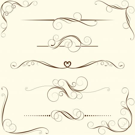 Illustration pour Set of swirl floral ornaments  - image libre de droit