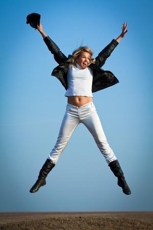 Happy woman in flight