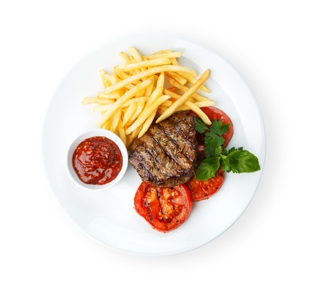 Photo for Restaurant food - beef grilled steak isolated at the white background - Royalty Free Image