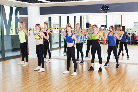Fitness workout. Group of young women in sport club making exercises. Girls stand ready for squats with barbells. Healthy lifestyle in club, training with weights.
