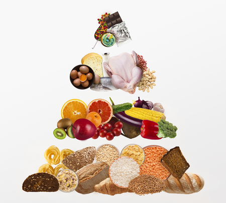 Foto de Food pyramid isolated on white background. Diet pyramid concept - Imagen libre de derechos