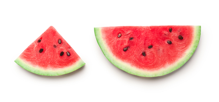 Photo pour Semicircle and triangle shaped ripe watermelon slices isolated on white background, panorama - image libre de droit