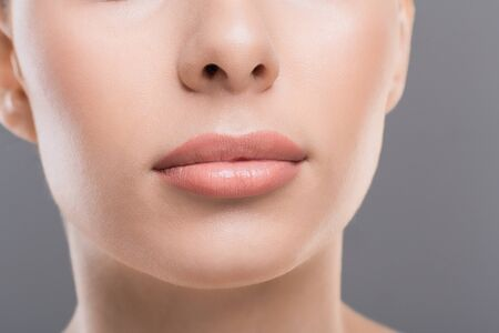 Photo pour Lips beauty. Close up of perfect female face, permanent makeup concept - image libre de droit