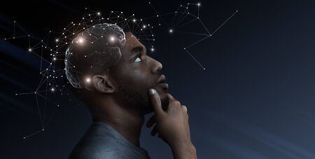 Photo for Creative process concept and problem solution. Ideas escape from brain of pensive african man, empty space - Royalty Free Image