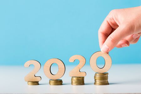 Financial budget planning for 2020 new year with growth of income, copy space