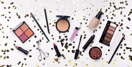 Photo for Brilliantly. Flat lay of makeup products and accessory on white background, panorama - Royalty Free Image