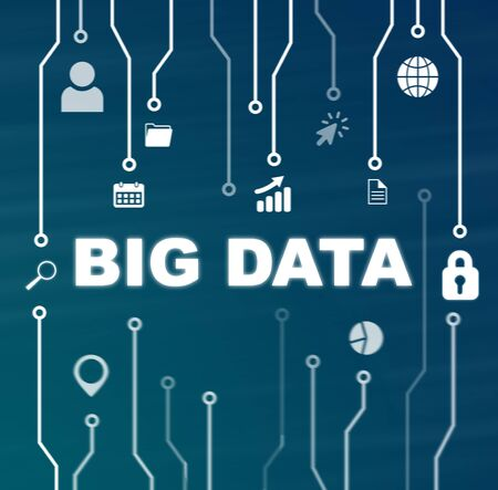 Photo for Big data technology and Internet concept on blue background - Royalty Free Image