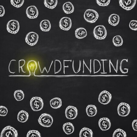 Foto de Investments with high returns. White crowdfunding lettering with yellow light bulb instead letter O on blackboard - Imagen libre de derechos