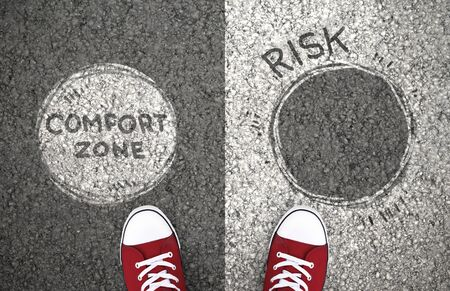 Photo for Comfort Zone Or Risk. Dilemma between staying with your habits or taking chance to change - Royalty Free Image
