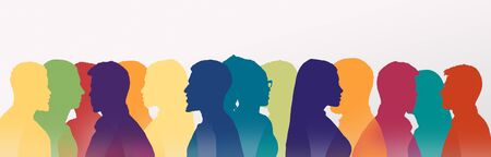 Photo pour Communication concept. Multicolored silhouettes of people talking to each other over white background, panorama - image libre de droit