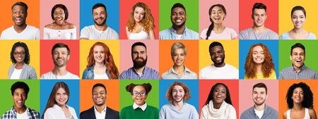 Photo pour Mosaic Of Cheerful Multiethnic People Faces Posing On Colorful Backgrounds. Panorama - image libre de droit