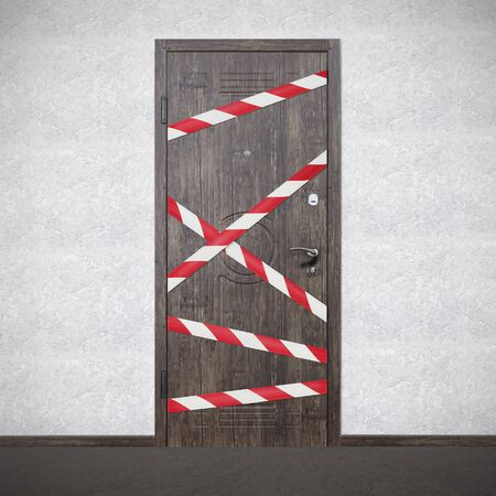 Photo for Quarantine Zone Warning Tape, Do Not Cross. Red and white hazard safety stripes across closed entrance door - Royalty Free Image