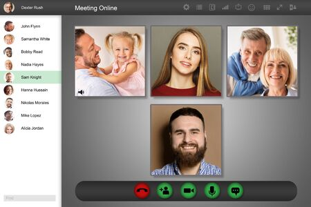 Photo for Remote communication concept. Group of people engaged in team online conference, view of computer screen. Collage - Royalty Free Image