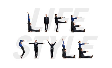 Photo pour Group of smiling office people forming Life Style phrase isolated over white background, studio wall - image libre de droit