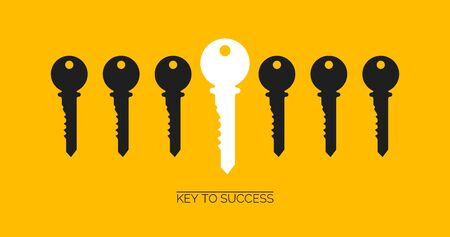 Foto per Success and uniqueness concept. White key standing out among others on yellow background, creative vector illustration. Panorama - Immagine Royalty Free