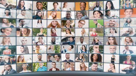 Photo pour Interactive collage of various casual portraits of international people different ages different lifestyles, diverse cultures concept - image libre de droit