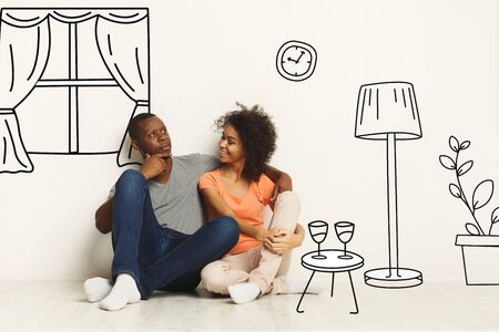 Photo pour African American couple dreaming about their new apartment interior, collage with sketch drawings of furniture on white wall - image libre de droit