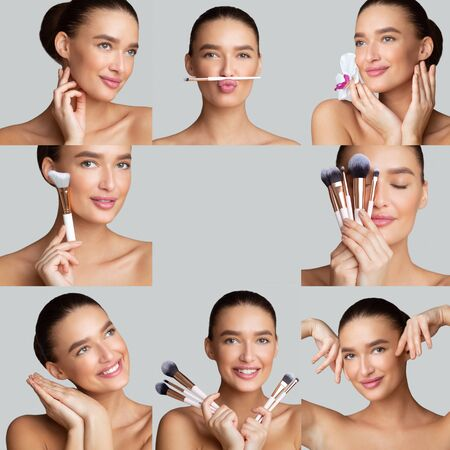 Photo pour Beautician Concept. Make up collage of beautiful woman holding make up brushes, free space in center of image - image libre de droit