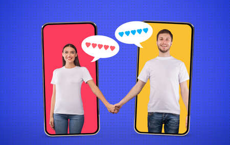 Photo pour Togetherness Concept. Collage in comic style of couple holding hands standing inside phone screens, bubbles with hearts - image libre de droit