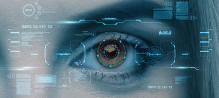 Photo pour Retina scan of female eye, collage with futuristic data on virtual screen, panorama. User biometrical identification system, access control, data protection, modern security technology - image libre de droit
