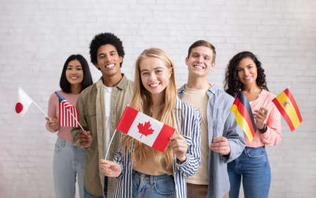 Photo pour International exchange program and study together. Smiling young multi ethnic students looking at camera and holding flags of their countries, on white brick wall background, copy space, studio shot - image libre de droit