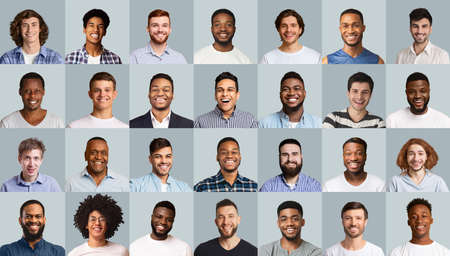 Photo for Set of positive male portraits, diverse men of different ages, nationalities and looks smiling at camera over grey studio backgrounds. Creative image for men community, male platform concept - Royalty Free Image