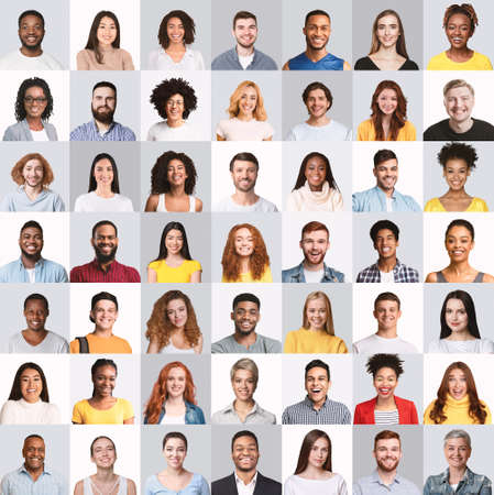 Photo for Collage of happy mixed young people portraits on studio backgrounds - Royalty Free Image