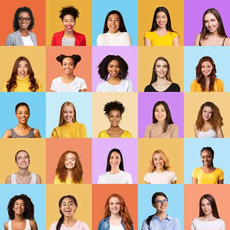 Photo pour Mosaic Of Happy Young Women Portraits Over Colorful Backgrounds, Square - image libre de droit