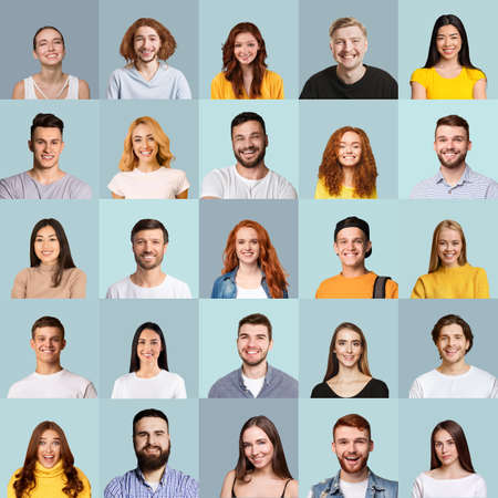 Photo pour Collage of millennial people portraits with smiling faces, blue backgrounds - image libre de droit