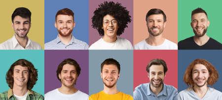 Photo pour Collage set of happy diverse multicultural men - image libre de droit