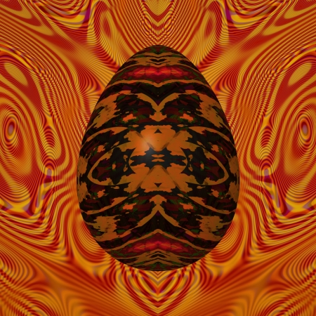 Dark egg - Abstractly decorated egg in the foreground, embedded into an  theme of abstraction, in background image