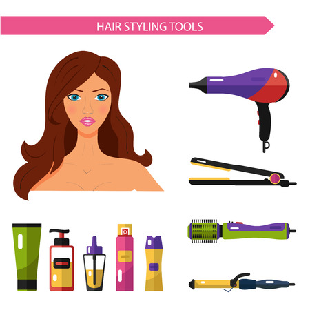 Flat vector cosmetics icons set of hair styling tools for website in pastel colors. Beautiful woman with hairdryer, hair curler, hair straightener, hairdryer brush, hairspray, hair oil, shampoo.