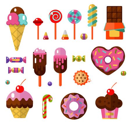 Vector flat style illustrations of sweets and candies products. Dessert icons set. Donut, lollipop, chocolate, cake, ice cream, cookie, caramel, candy and fruit gum.