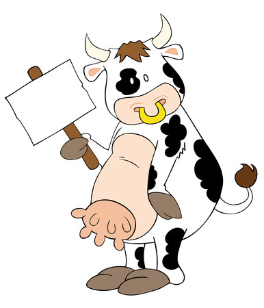 Vector: This is a funny dairy cow with white placard.