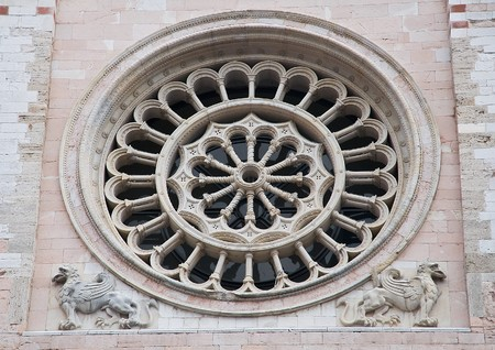 Rose window. St. Feliciano Cathedral. Foligno. Umbria.