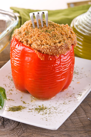 Stuffed bell pepper.