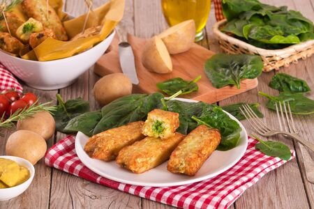 Photo for Potato croquettes with spinach and mozzarella. - Royalty Free Image