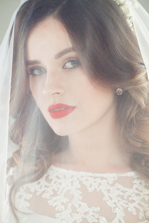 Foto de Perfect bride in veil, face closeup - Imagen libre de derechos
