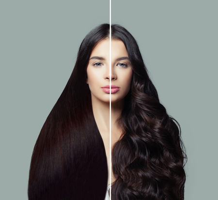 Photo pour Beautiful woman with straight and curly hairstyle. Hair styling and hair care concept - image libre de droit