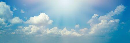 Photo pour Blue sky clouds background. Beautiful landscape with clouds and sun - image libre de droit