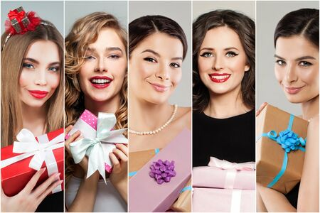 Photo for Pretty women with gifts present. Many female faces, fashion portraits collage set - Royalty Free Image