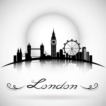 Illustration pour London City Skyline with Typographic Design. eps10 vector - image libre de droit