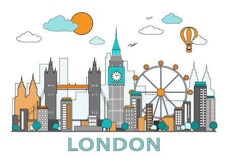 Thin line flat design of London city. Modern London skyline vector illustration, isolated on white background