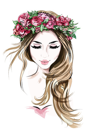 Illustration pour Hand drawn beautiful young woman in flower wreath. Cute girl with long hair. Sketch. Vector illustration. - image libre de droit