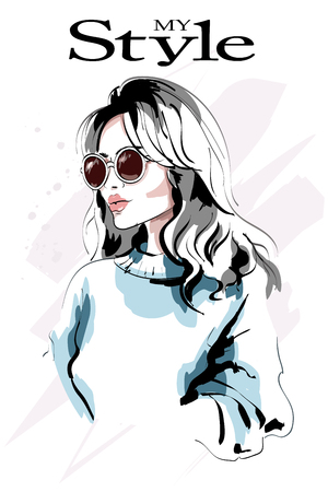 Illustration for Beautiful young blond hair woman portrait. Fashion woman. Hand drawn fashion girl in sunglasses. Sketch. - Royalty Free Image