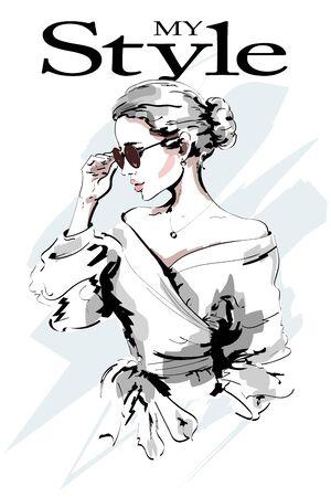 Illustration pour Fashion lady. Beautiful young woman portrait. Fashion woman in sunglasses. Stylish girl. Sketch. Vector illustration. - image libre de droit